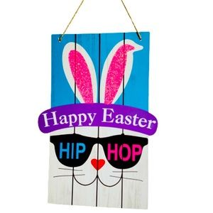 Hip Hop Wooden Easter Wall Hanging Decor